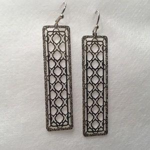 Jewelry - Rectangular Quatrefoil Design Bar Earrings